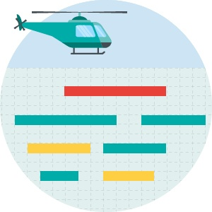 Hubschrauberperspektive projektplanungsfeature